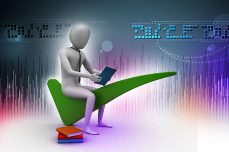 3d man sitting on the right mark photo