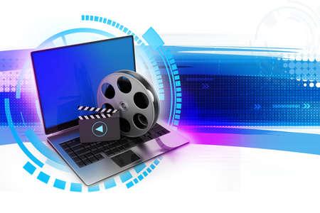 web portal: Laptop with reel