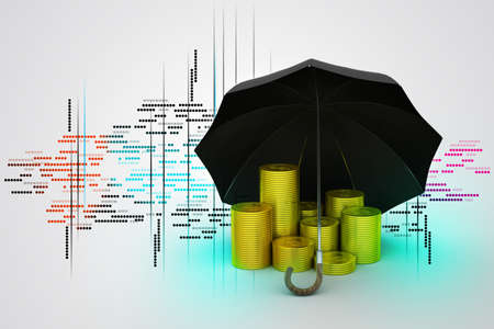 Gold coins under a black umbrella photo