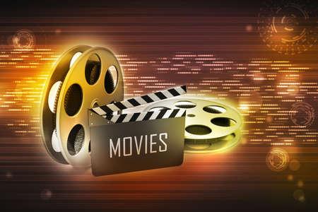 Film Reels and Clapper board Banco de Imagens
