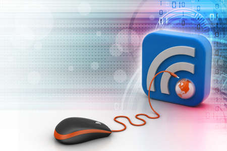 blogged: computer mouse with RSS icon Stock Photo