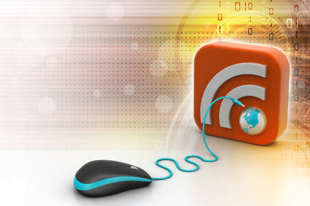 computer mouse with RSS icon Stock Photo