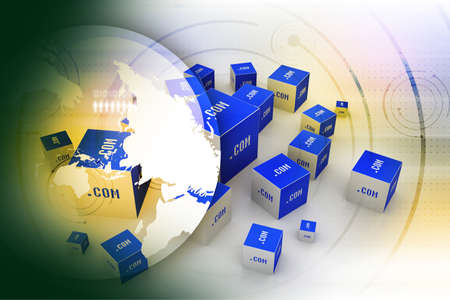 Dot com domain in cubes Stock Photo