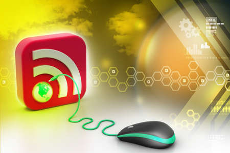 syndication: computer mouse with RSS icon Stock Photo