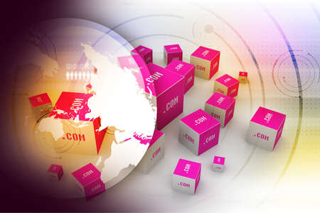 Dot com domain in cubes photo