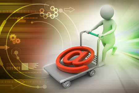 pushcart: 3d person with pushcart and e mail symbol