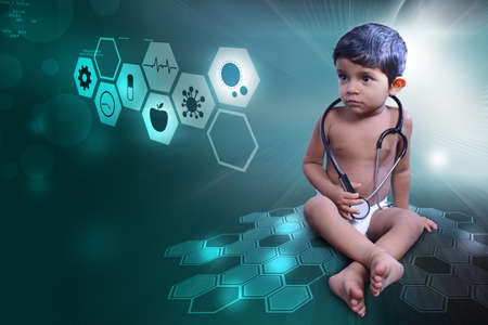 baby with stethoscope Stock Photo