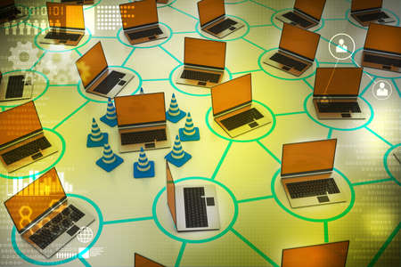 laptop repair: laptop network with traffic cone Stock Photo