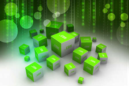 dot com: Dot com domain in cubes Stock Photo