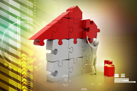 3d man, building the house Stock Photo