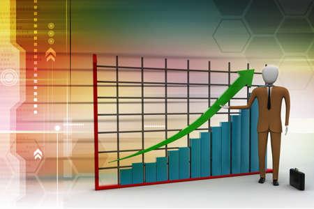 business man standing near a financial graph photo
