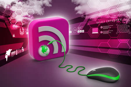 syndicated: computer mouse with RSS icon Stock Photo
