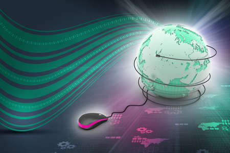 internet 3d concept - computer mouse with globe photo