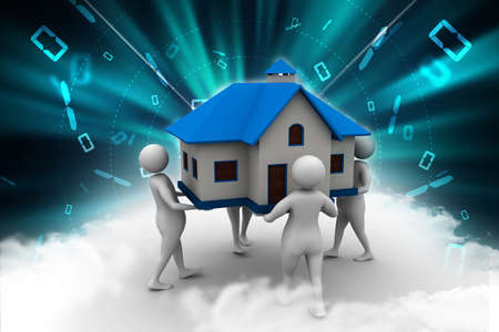 3D people holding a house photo