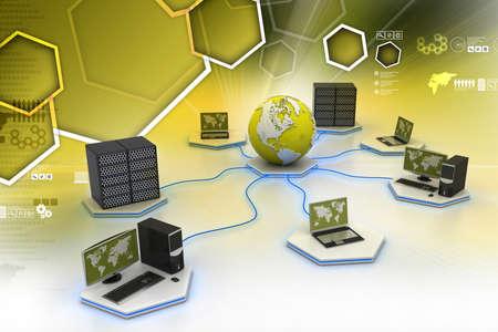 Globe around with laptop server  and computer Stock Photo
