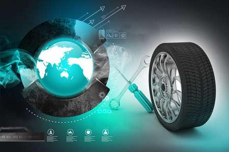 automotive industry: 3d tires replacement concept