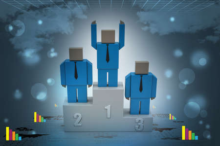 3d person in a podium winning first place photo