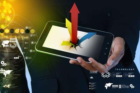 breaking through: Romper con �xito como un gr�fico financiero en forma de tableta