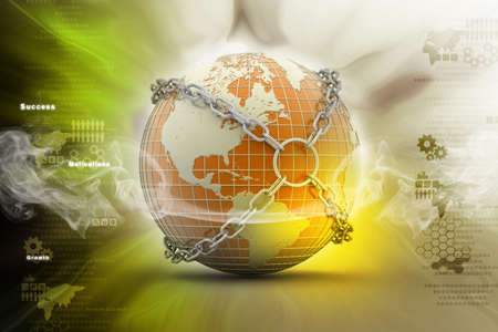 Earth globe close in chain    photo