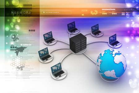 e recruitment: laptop with big server Net Work firewall  3D Image Stock Photo