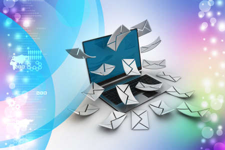 consignor:     E-mail concept  Modern Laptop and envelope