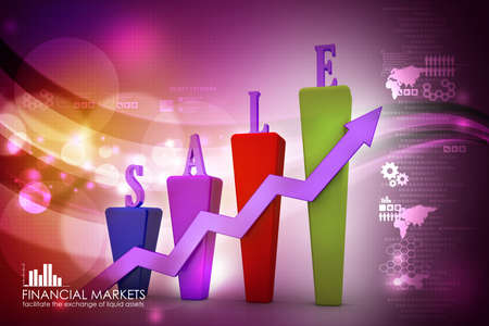 3D Bar chart and sales growth photo