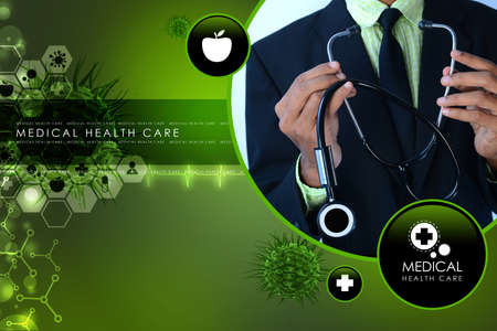 keep in touch: Young doctor showing stethoscope