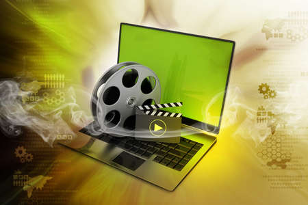 Laptop with reel photo