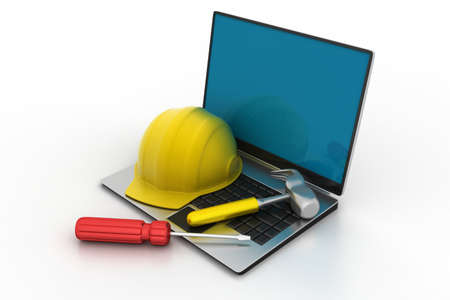 construction site helmet: Laptop and under construction sign