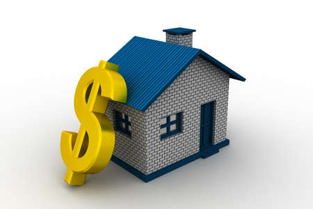 real estate concept with golden dollar sign photo