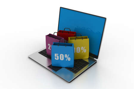 shopping bags and a laptop