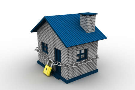 House locked in chain and padlock photo