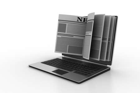 News through a laptop screen concept for online news Banque d'images