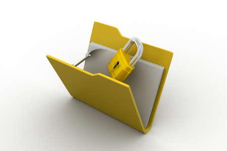 Confidential files. Padlock on folder photo