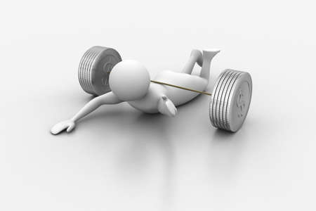 3d man lying under the weights photo