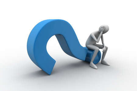 3d man sitting on the question mark Stock Photo