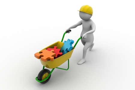 wheel barrow: 3d man carrying wheel barrow with puzzle piece