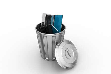 unsuitable: Laptop in trash bin