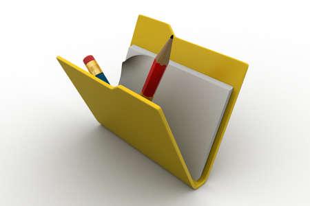 Computer file folder and pencil photo