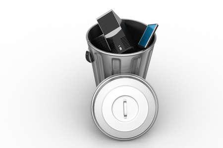 unsuitable: computer in trash bin
