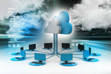 Concepten cloud computing apparaten Stockfoto