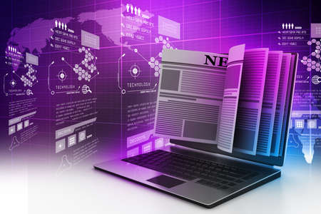 Pantalla de computadora portátil que muestra novedades en línea Foto de archivo - 32653325