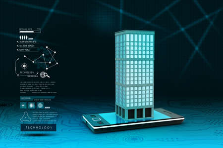 smart grid: smart phone with real estate concept