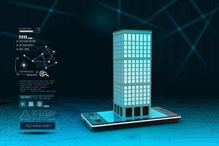 Smartphone mit Immobilien-Konzept Standard-Bild - 32653858
