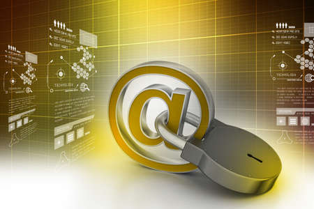 e-mail sign with padlock photo