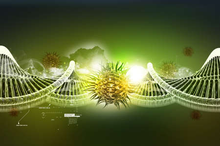 dna helix: model of twisted chrome DNA chain and virus Stock Photo