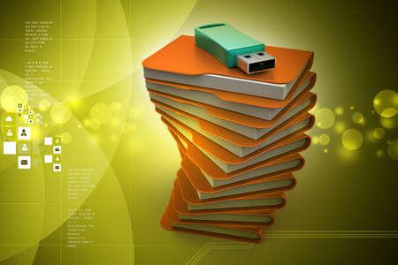 usb drive: Usb drive with file folder