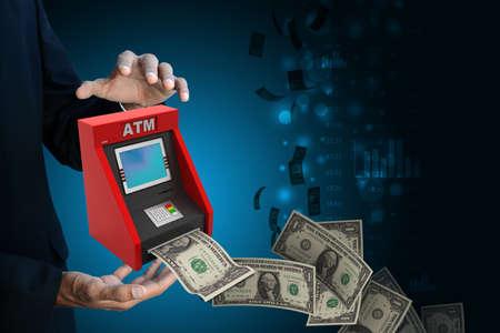 automatic teller: man hand showing  teller machine