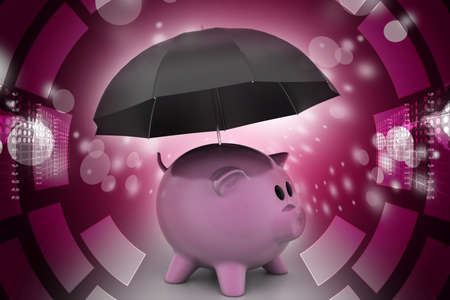 Investment protection concept by a piggy bank and umbrella photo
