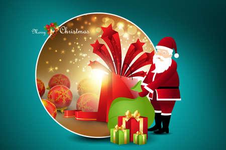x mas parties: Christmas gift boxes with santa claus Stock Photo